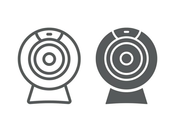 Download Free Web Camera Line And Glyph Icon Graphic By Anrasoft Creative for Cricut Explore, Silhouette and other cutting machines.