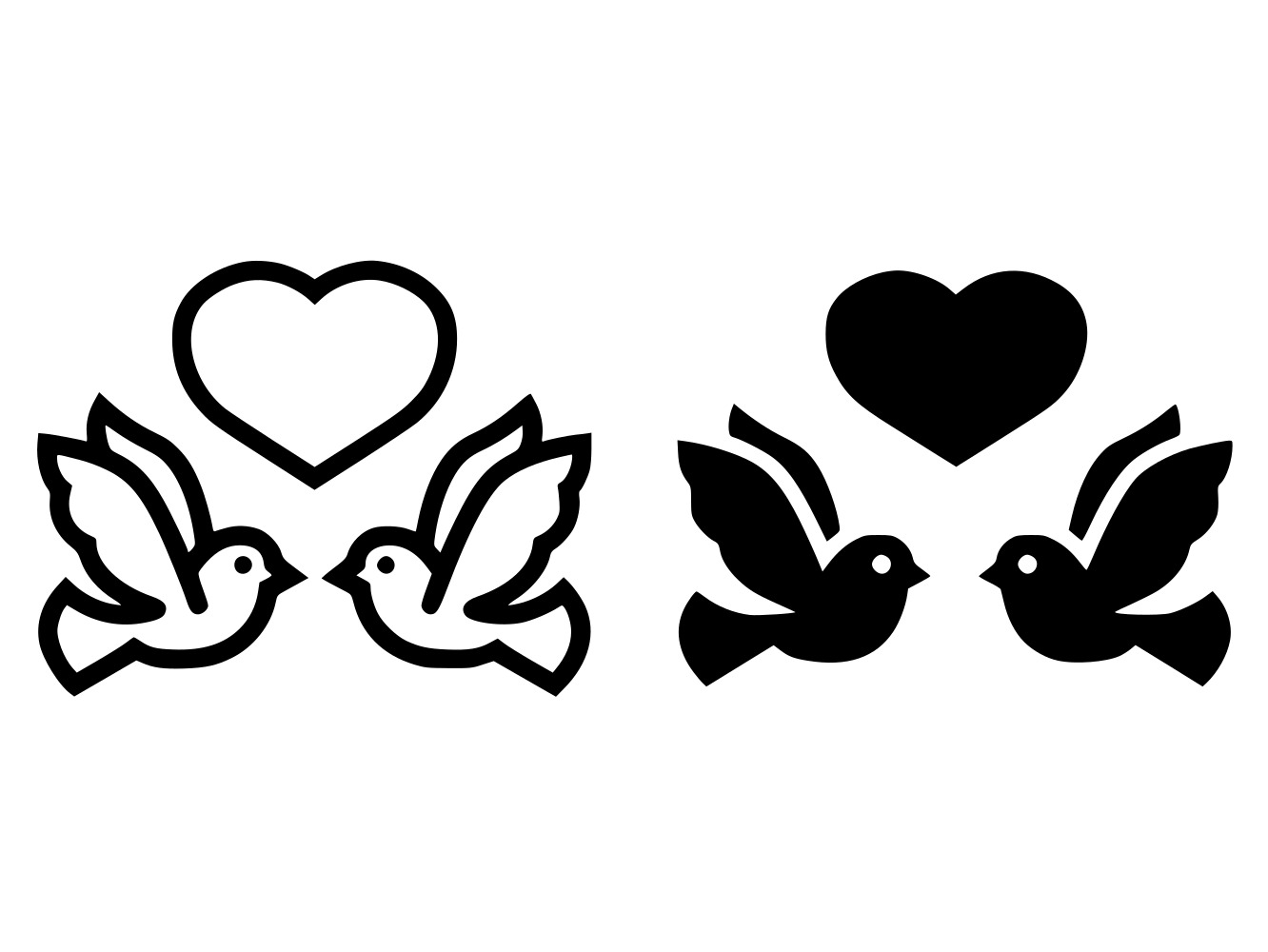 Download Free Wedding Doves With Heart Line And Glyph Graphic By Anrasoft for Cricut Explore, Silhouette and other cutting machines.
