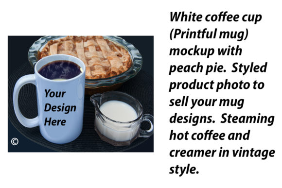 Print on Demand: White Coffee Cup Mockup and Pie Graphic Food & Drinks By A Design in Time