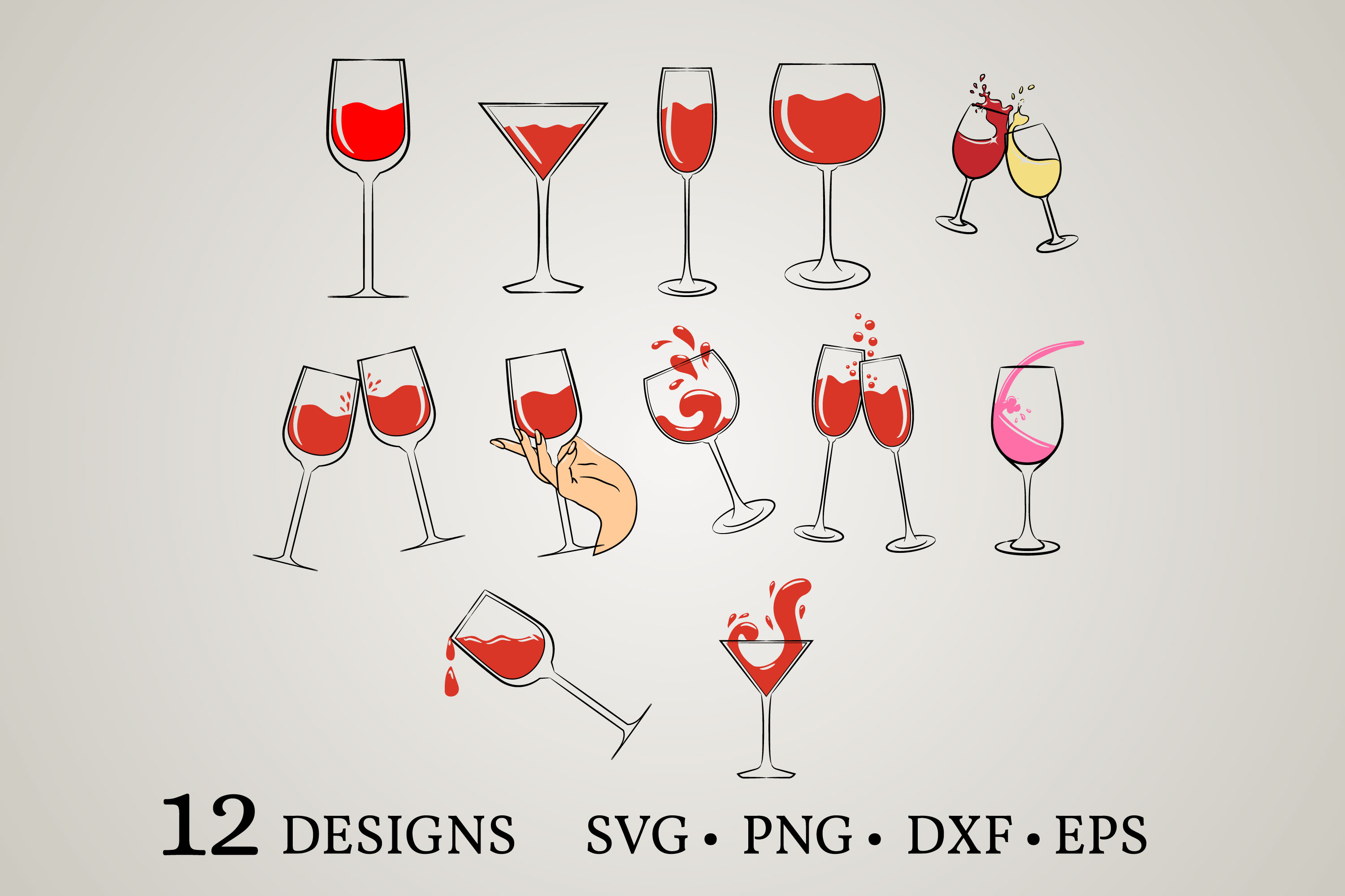 Download Free Wine Glass Bundle Graphic By Euphoria Design Creative Fabrica for Cricut Explore, Silhouette and other cutting machines.