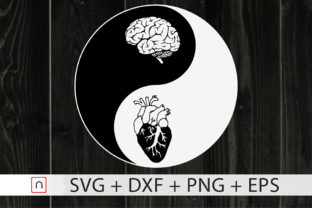 Download Free Yin Yang Brain And Heart Graphic By Novalia Creative Fabrica for Cricut Explore, Silhouette and other cutting machines.