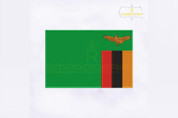 Zambia Flag Africa Embroidery Design By RoyalEmbroideries