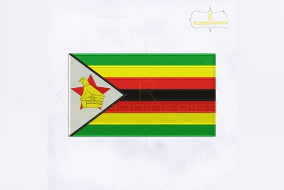 Zimbabwe Flag Africa Embroidery Design By RoyalEmbroideries