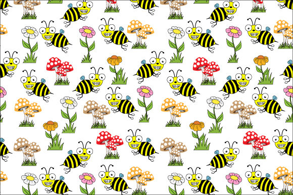 Print on Demand: Bee and Flower Pattern Graphic Illustrations By curutdesign