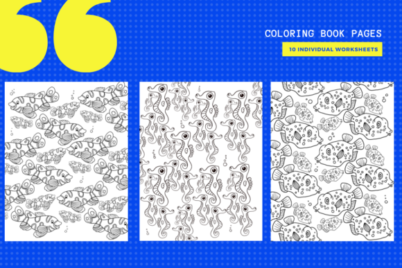 Print on Demand: 10 Under the Sea Coloring Pages Graphic Coloring Pages & Books By yumbeehomeschool - Image 1