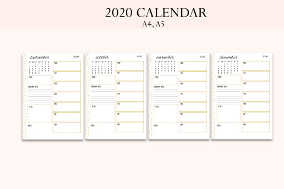 2020 Calendar, 2020 Planner Graphic Objects By Igraphic Studio