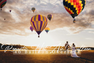 Print on Demand: 40 Romantic Hot Air Balloon Overlays Graphic Backgrounds By 3Motional