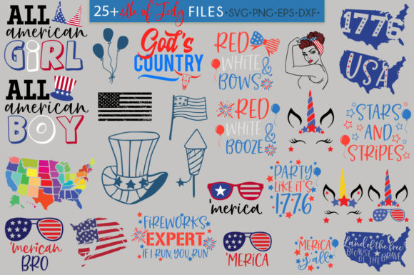 Download Free 4th Of July Independence Day Bundle Graphic By for Cricut Explore, Silhouette and other cutting machines.