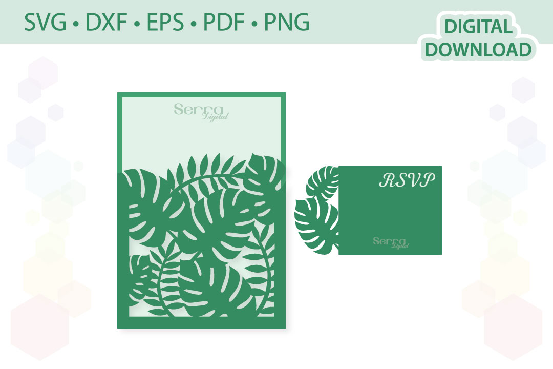 Download Free Tropical Wedding Invitation Graphic By Serradigital Creative for Cricut Explore, Silhouette and other cutting machines.