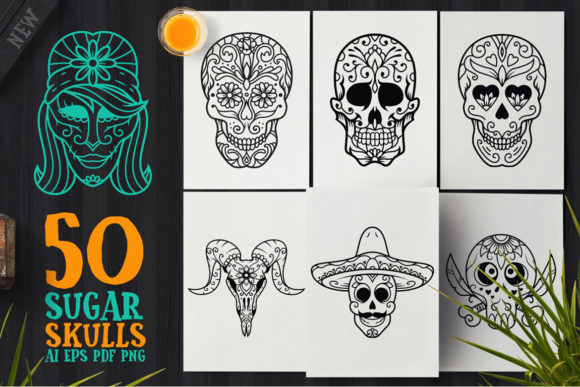 Download Free 25 Day Of The Dead Designs Graphics for Cricut Explore, Silhouette and other cutting machines.