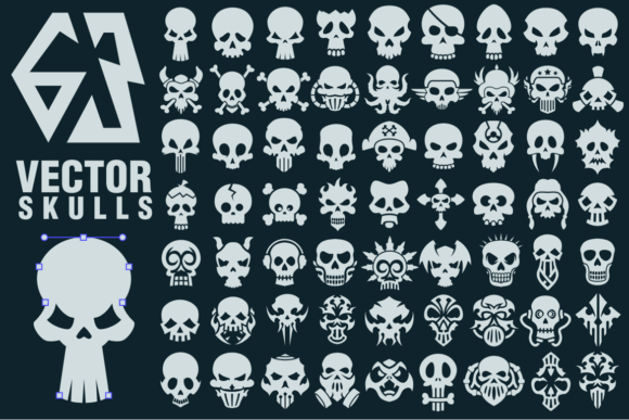 Download Free 63 Vector Skulls Collection Graphic By Pixaroma Creative Fabrica for Cricut Explore, Silhouette and other cutting machines.