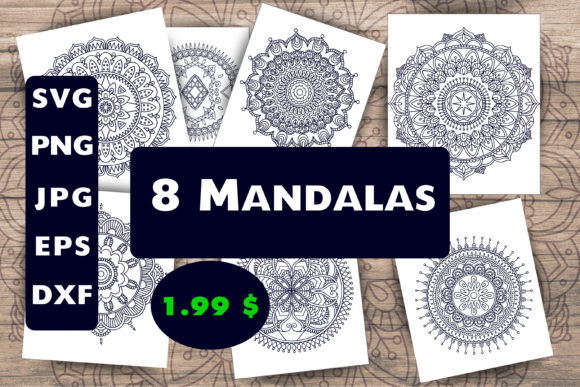 Print on Demand: 8 Mandalas, Mandala Coloring Pages Graphic Coloring Pages & Books Adults By SVG Shop