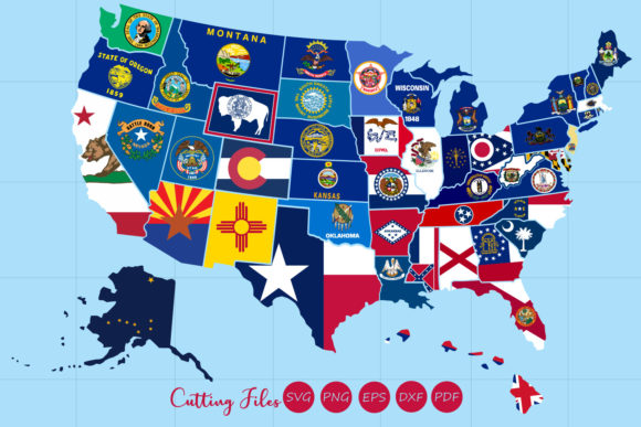Download Free All 50 Us States Map With Flag Design Graphic By Hd Art Workshop for Cricut Explore, Silhouette and other cutting machines.