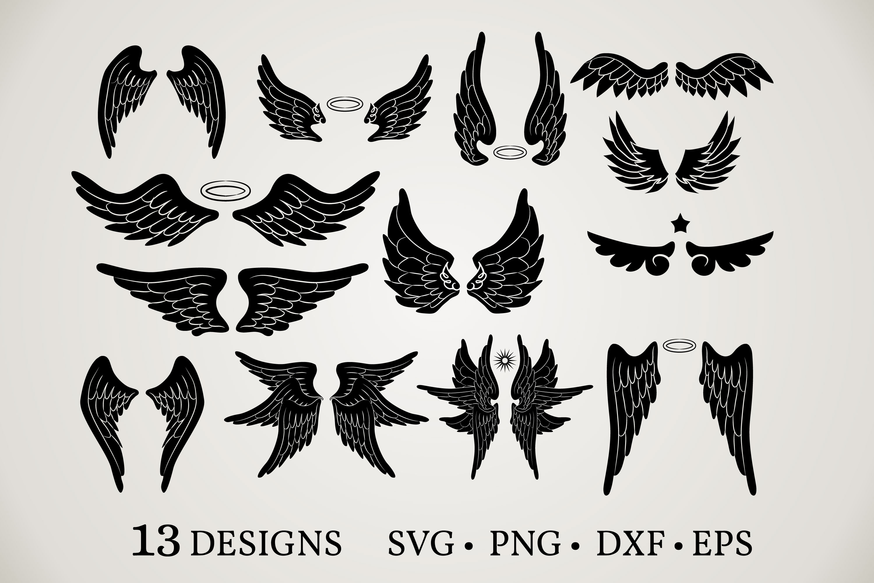 Download Free Angel Wings Bundle Graphic By Euphoria Design Creative Fabrica for Cricut Explore, Silhouette and other cutting machines.