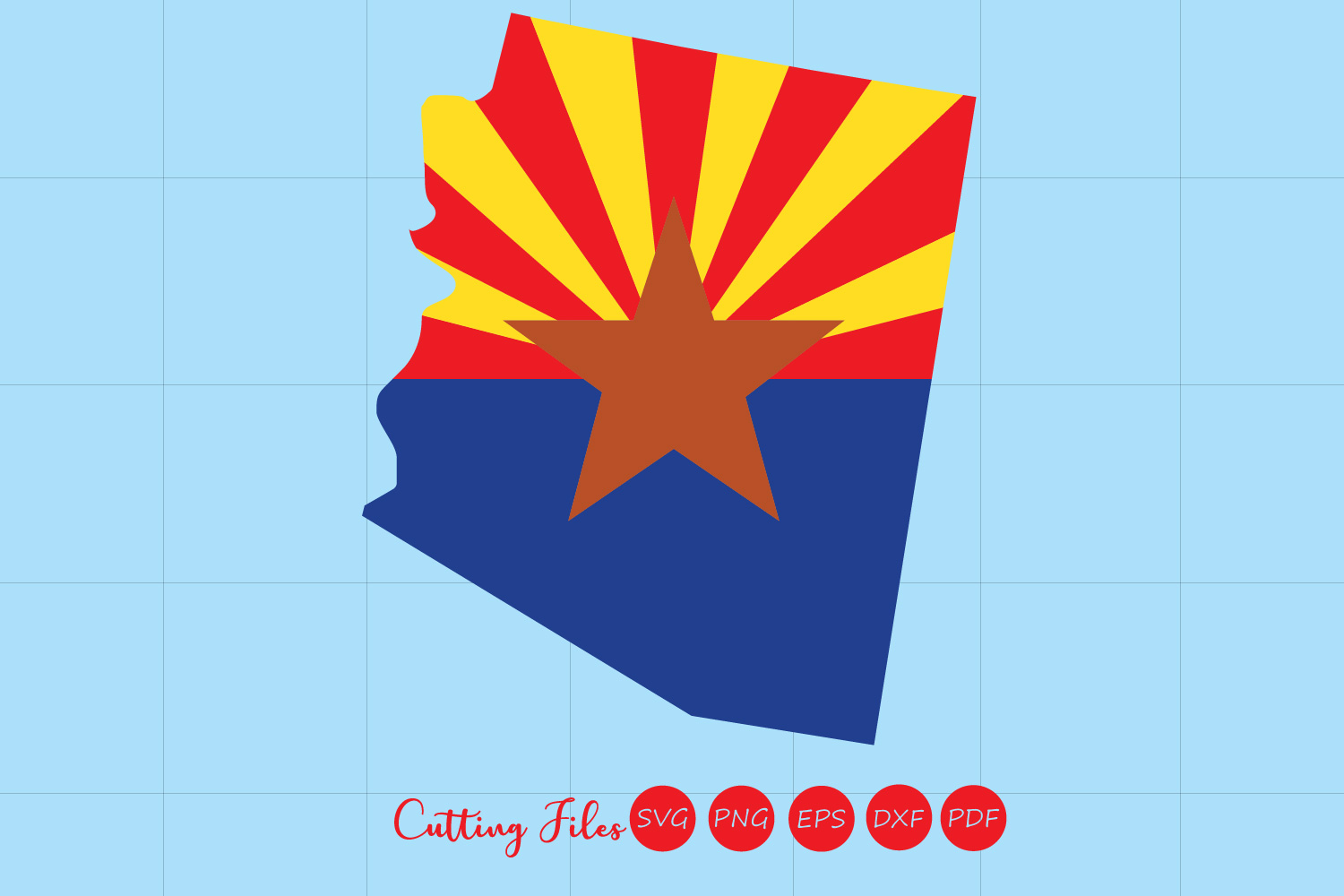 Arizona State With Flag Background Graphic By Hd Art Workshop