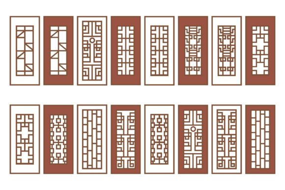 Download Free Asian Traditional Window Bundle Graphic By Griyolabs Creative for Cricut Explore, Silhouette and other cutting machines.