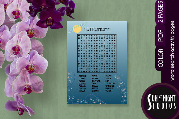 Astronomy Word Search Activity Printable Graphic Teaching Materials By Sun At Night Studios