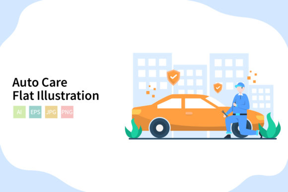 Download Free Auto Care Flat Vector Illustration Graphic By Sixtwenty Studio for Cricut Explore, Silhouette and other cutting machines.