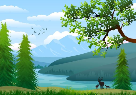 Background with Landscape Illustration Graphic Backgrounds By americodealmeida