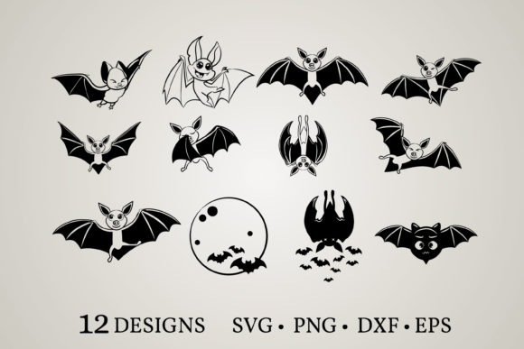Download Free 4 Bat Clipart Designs Graphics for Cricut Explore, Silhouette and other cutting machines.