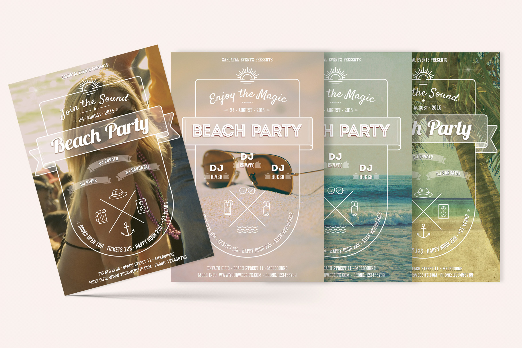 Download Free Beach Party Flyers Graphic By Sargatal Creative Fabrica for Cricut Explore, Silhouette and other cutting machines.