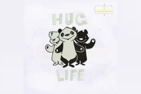 Black and White Hug Life Wild Animals Embroidery Design By RoyalEmbroideries