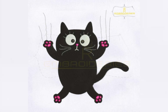 Black Cat Claw Scratch Glass Cats Embroidery Design By royalembroideries