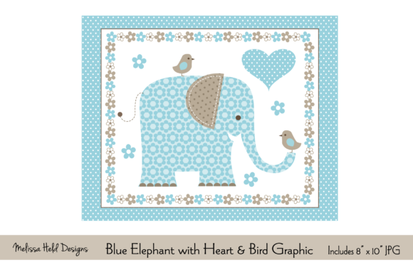 Blue Elephant with Heart & Bird Graphic Graphic Illustrations By Melissa Held Designs