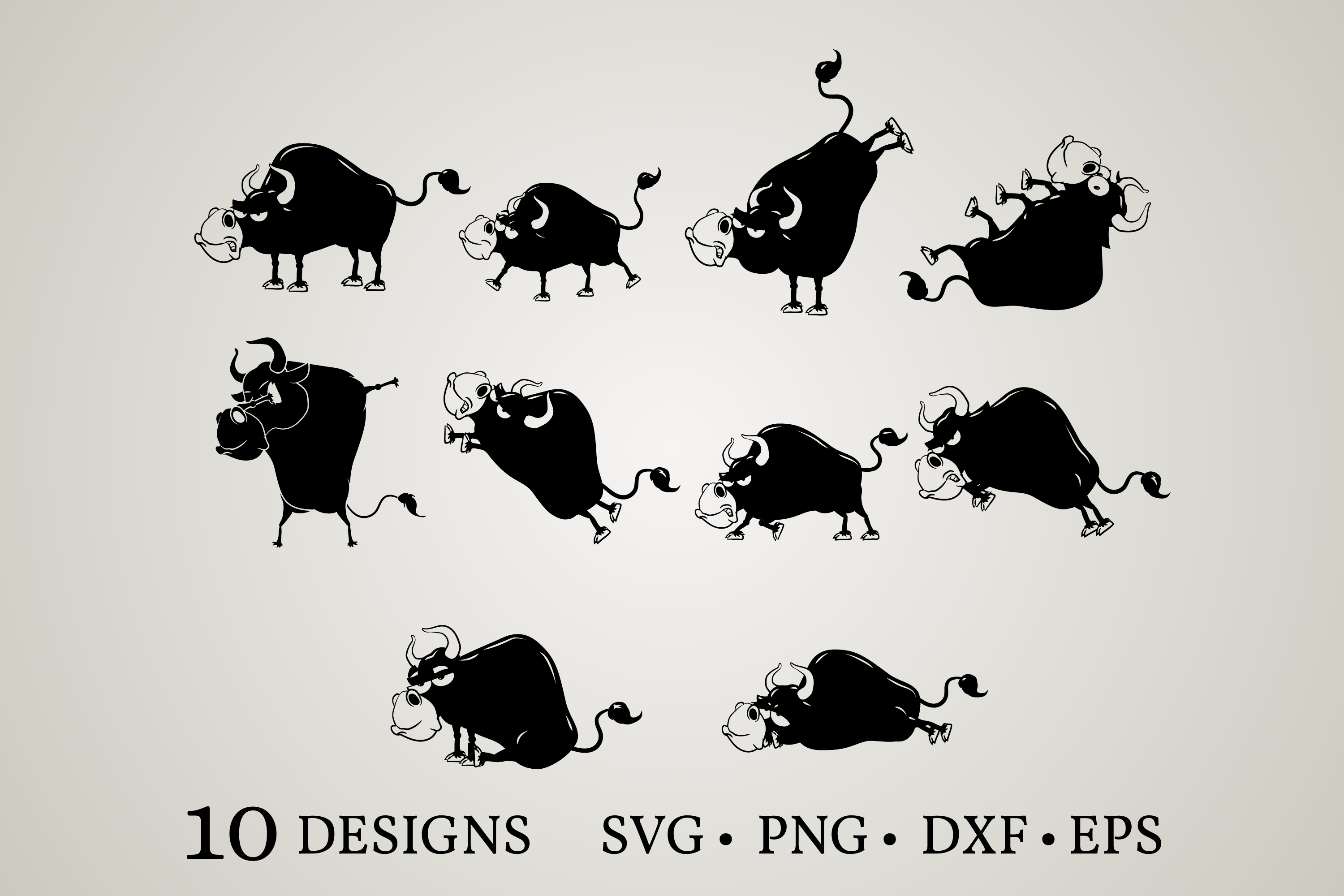 Download Free Bull Clipart Bundle Graphic By Euphoria Design Creative Fabrica for Cricut Explore, Silhouette and other cutting machines.