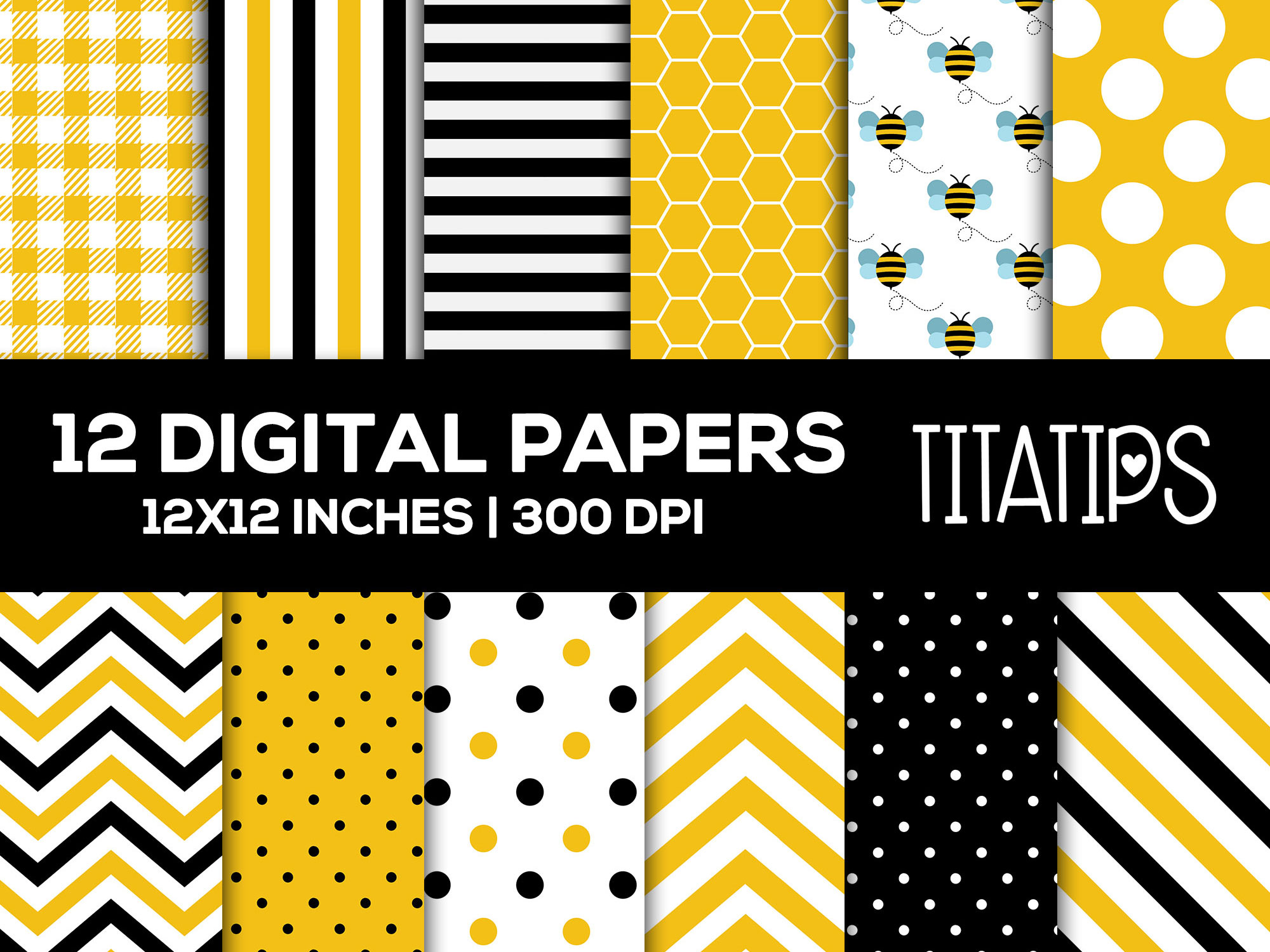 Download Free Bumblebee Digital Papers Set Graphic By Titatips Creative Fabrica for Cricut Explore, Silhouette and other cutting machines.