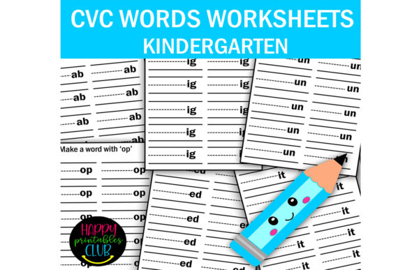 Print on Demand: CVC Words Worksheets Kindergarten Grafik Vorschule von Happy Printables Club