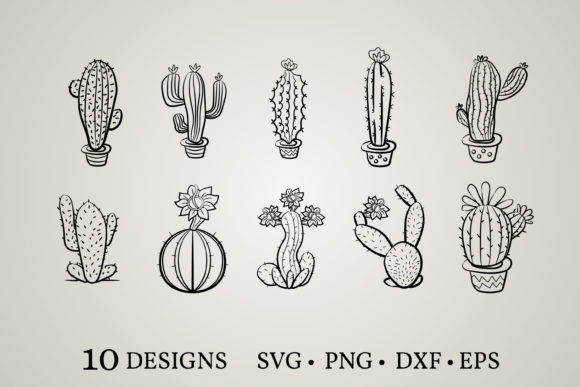 Cactus Bundle  Graphic Print Templates By Euphoria Design