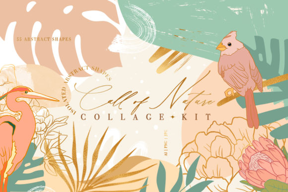 Call of Nature Collage Kit Graphic Illustrations By NassyArt