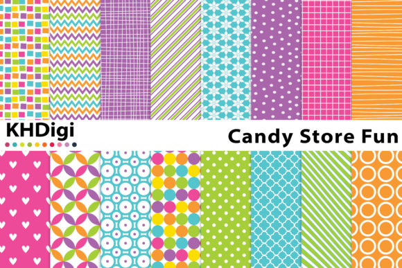 Download Free Candy Store Fun Digital Paper Graphic By Khdigi Creative Fabrica for Cricut Explore, Silhouette and other cutting machines.