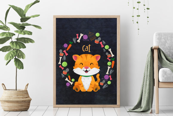 Download Free Cat Nursery Art Pet Animal Graphic By Accaliadigital Creative for Cricut Explore, Silhouette and other cutting machines.