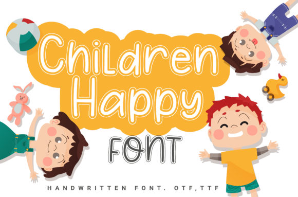 Print on Demand: Children Happy Script & Handwritten Font By artdee2554