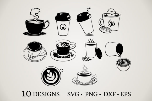 Download Free 2 Coffee Cup Vector Designs Graphics for Cricut Explore, Silhouette and other cutting machines.