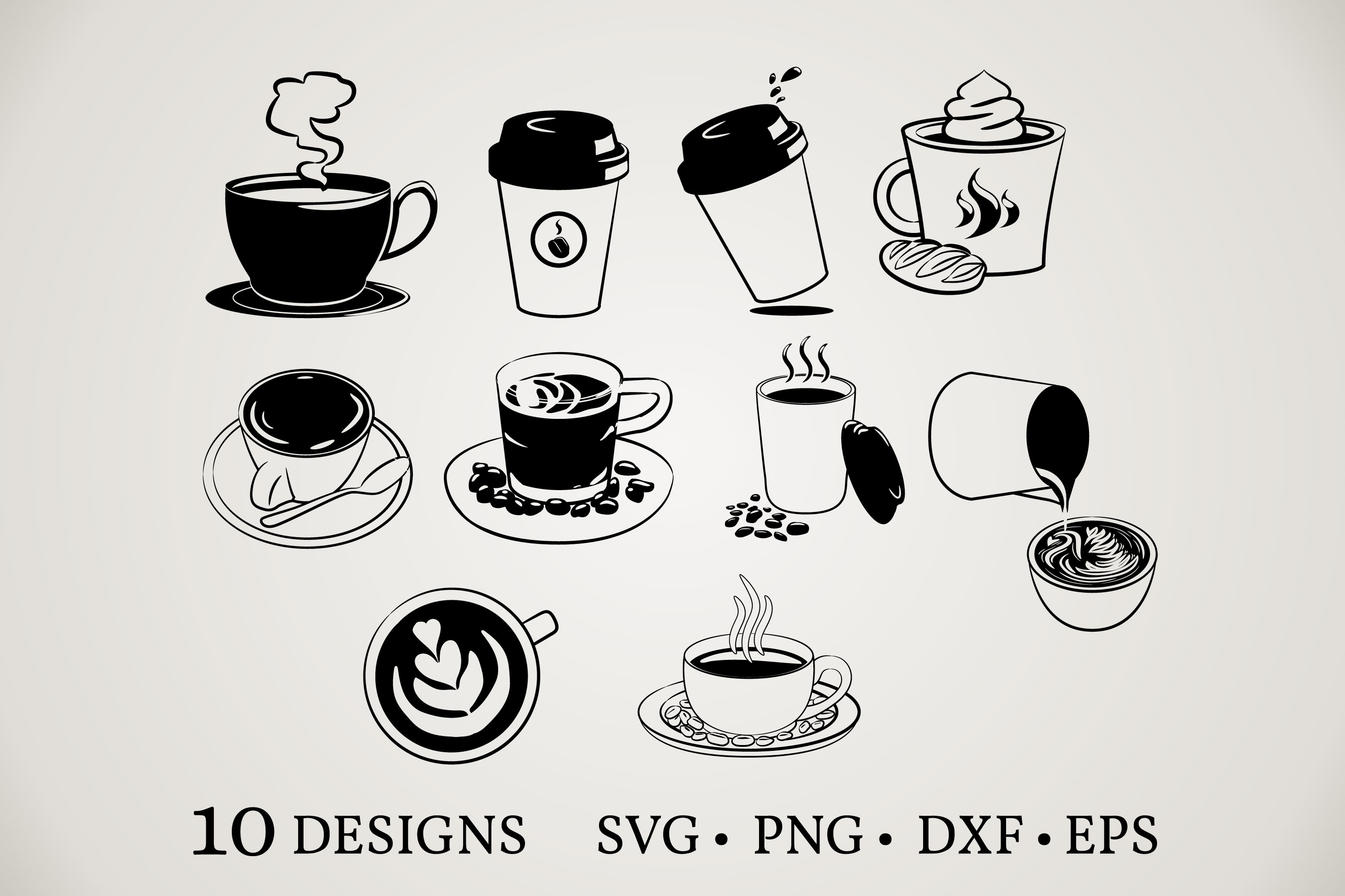 Download Free Coffee Cup Bundle Graphic By Euphoria Design Creative Fabrica for Cricut Explore, Silhouette and other cutting machines.