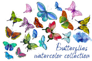 Print on Demand: Collection of Watercolor Butterflies Graphic Illustrations By ElenaZlataArt