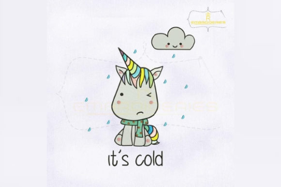 Colorful Unicorn It's Cold Fairy Tales Embroidery Design By royalembroideries