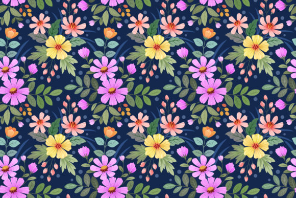 Colorful Hand Draw Flowers Pattern. Graphic Patterns By ranger262
