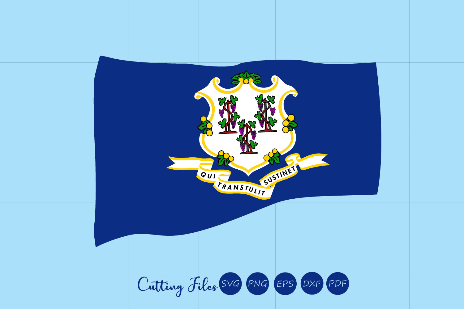 Download Free Connecticut State With Flag Background Graphic By Hd Art for Cricut Explore, Silhouette and other cutting machines.