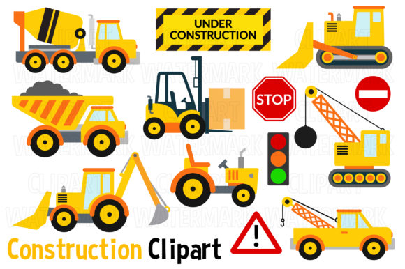 Construction Vehicles Clipart Graphic Illustrations By magreenhouse