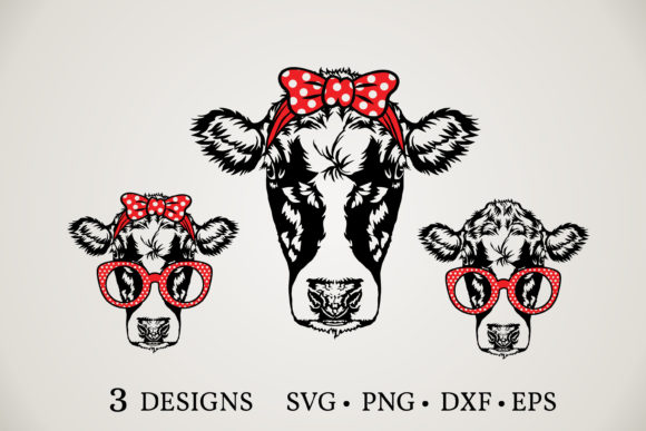 Cow Face Head Bundle  Gráfico Plantillas para Impresión Por Euphoria Design