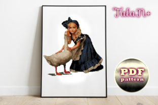 """Print on Demand: Cross Stitch Pattern """"Girl and Goose"""" Graphic Crafts By talanpluss"""