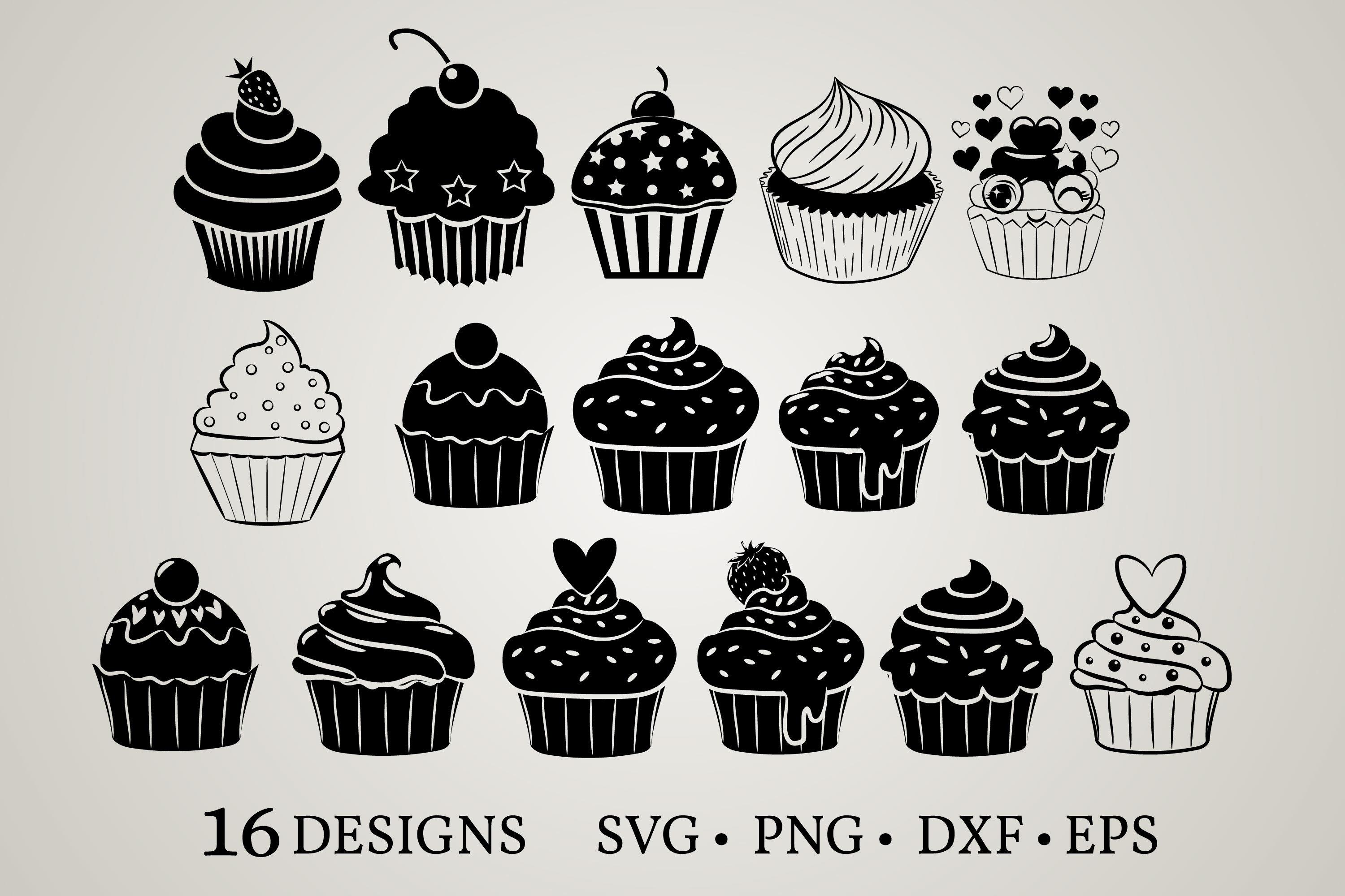 Download Free Cupcake Bundle Graphic By Euphoria Design Creative Fabrica for Cricut Explore, Silhouette and other cutting machines.