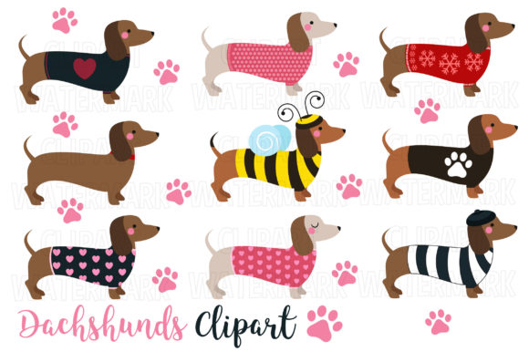 Download Free Dachshunds Clipart Graphic By Magreenhouse Creative Fabrica for Cricut Explore, Silhouette and other cutting machines.