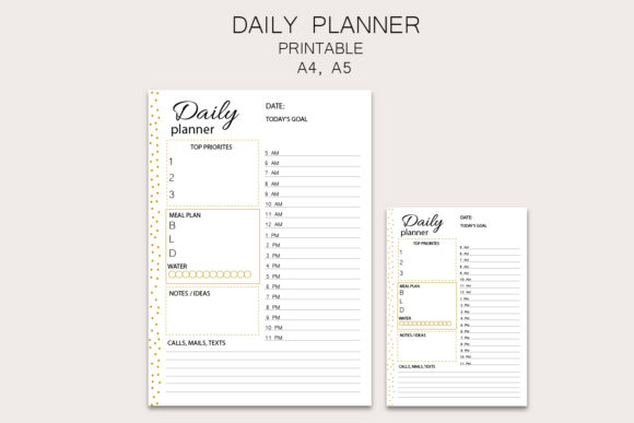 Daily Planner, Printable Planner Graphic Objects By Igraphic Studio