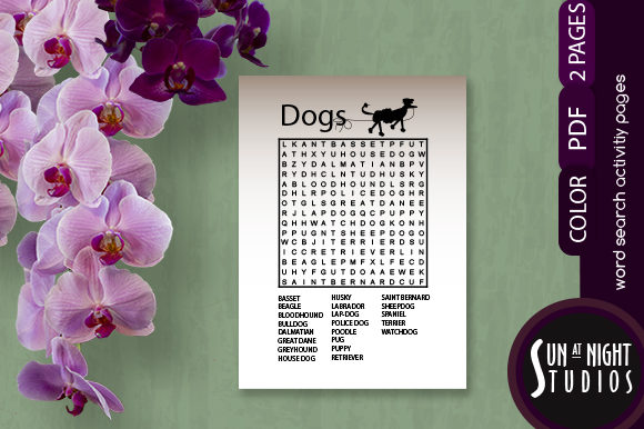 Dogs Word Search Activity Printable Graphic Teaching Materials By Sun At Night Studios