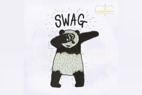Dub Swag Panda Wild Animals Embroidery Design By RoyalEmbroideries